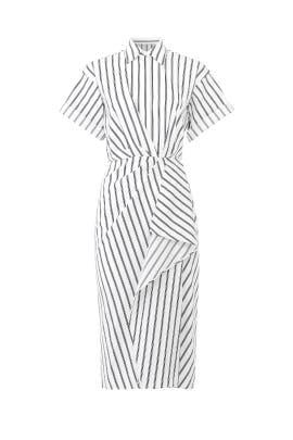 Striped Drape Shirtdress by Jason Wu