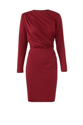 Burgundy Draped Sheath by Alexia Admor