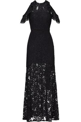 Black Open Shoulder Evie Gown by Alexis