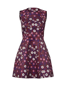 Burgundy Printed Duchess Dress by Cynthia Rowley