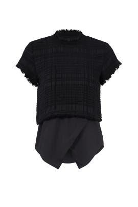 Black Asymmetrical Layered Top by Derek Lam 10 Crosby