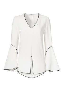 White Bell Sleeve Piping Blouse by DEREK LAM