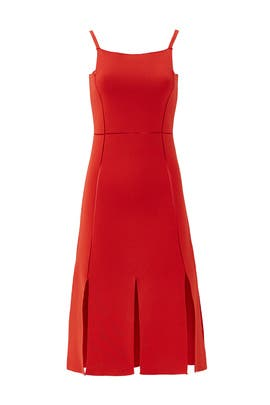 Red Square Pleat Dress by ADEAM