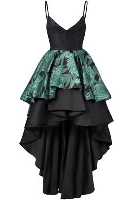 Green Mixed Media Gown by Christian Pellizzari