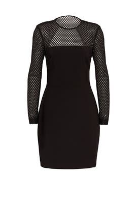 Black Openwork Crepe Dress by Nicole Miller