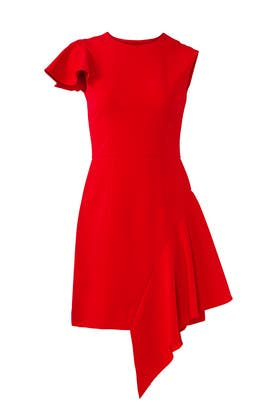Red Side Flutter Dress by Milly