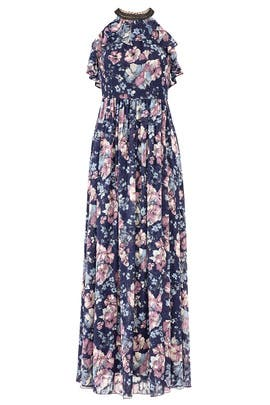 Blue Floral Halter Maxi by Marchesa Notte