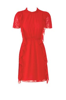 Red High Neck Dress by ML Monique Lhuillier