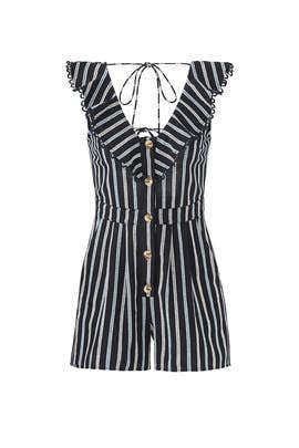 Striped Button Down Romper by Moon River