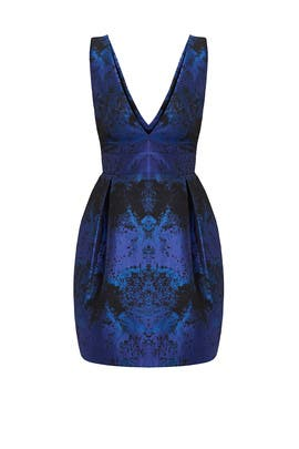 Blue Speckled Jacquard Dress by Nicole Miller
