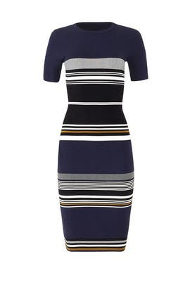 Navy Striped Sweater Dress by Diane von Furstenberg