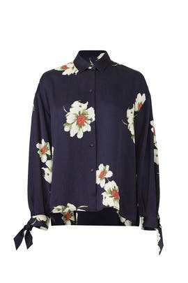 Gardenia Floral Tie Sleeve Blouse by VINCE.