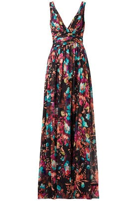 Dark Floral Gown by Badgley Mischka