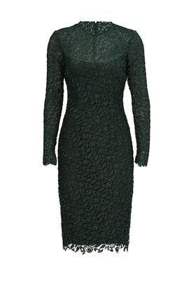 Green Ivy Leaf Lace Sheath by ML Monique Lhuillier