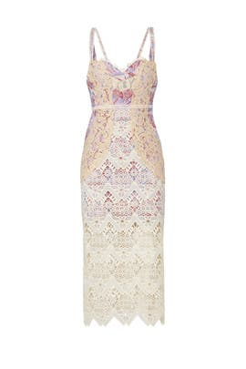 Printed Lace Sweetheart Midi Dress by Free People