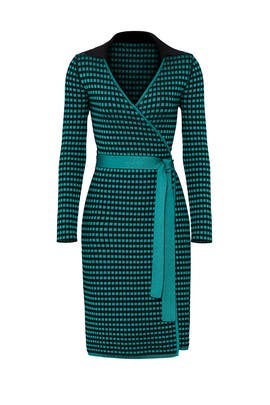 Checkered Wrap Dress by Diane von Furstenberg