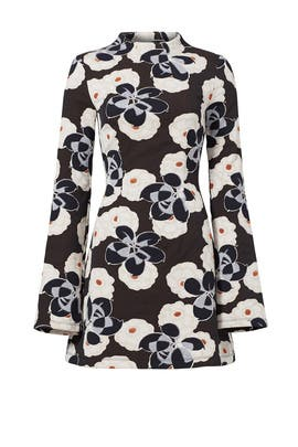 Mock Neck Floral Printed Dress by Suno
