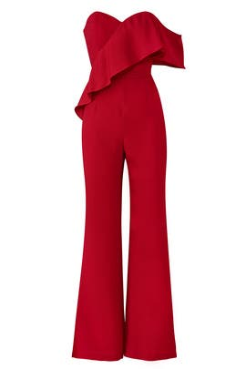 Red Sweetheart Jumpsuit by Adelyn Rae