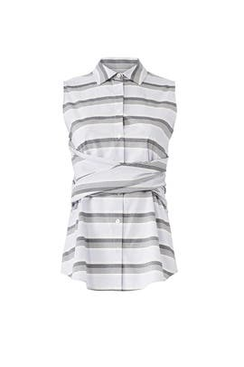 Grey Striped Tie Top by Derek Lam 10 Crosby