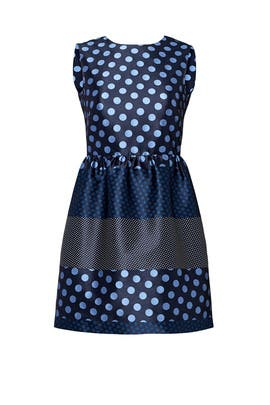 Blue Contrast Polka Dot Dress by RED Valentino