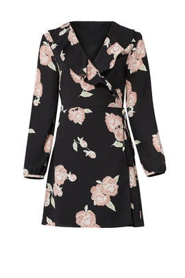 Black Floral Wrap Dress by cupcakes and cashmere