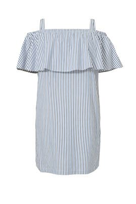 Pinstripe Ruffle Shoulder Dress by ELOQUII