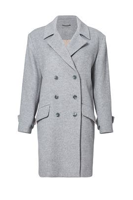 Grey Oversized Double Breasted Coat by Halston Heritage