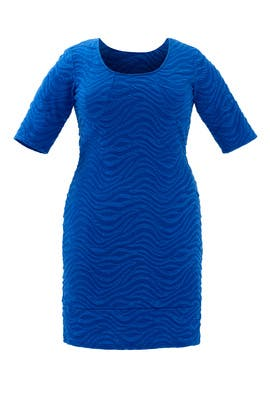 Wavy Blue Sheath Dress by JUNAROSE