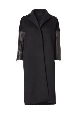 Black Leather Sleeve Jacket by KAUFMANFRANCO