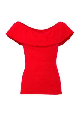 Red Textured Flounce Top by Milly