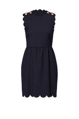 Navy Scallop Crepe Dress by RED Valentino