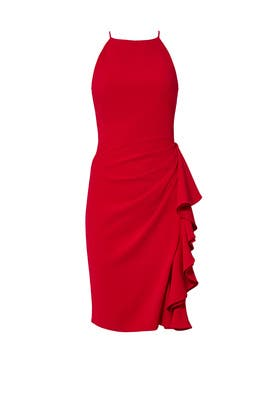 Red Ruffle Halter Sheath by Badgley Mischka