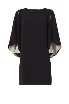 Black Cape Flutter Dress by Halston Heritage