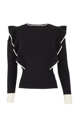 Black Ruffled Knit Top by J.O.A.