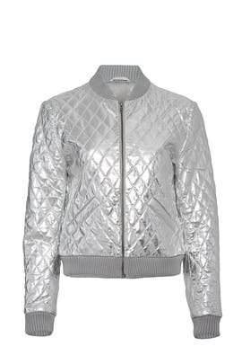 Quilted Leather Bomber by Nicole Miller
