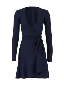 Navy Wrap Dress by Nicole Miller