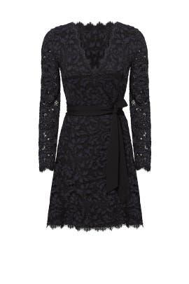 Black and Navy Shaelyn Wrap Dress by Diane von Furstenberg