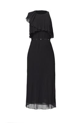 Black Pleated Sideswept Dress by Giamba