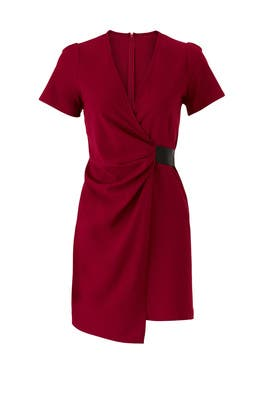 Burgundy Faux Wrap Dress by Slate & Willow