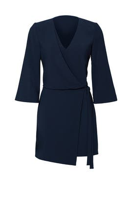 Navy Overlay Crepe Dress by Halston Heritage