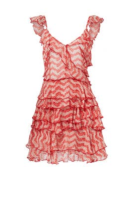Red Printed Ruffle Dress by The Kooples