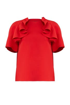 Red Ruffle Crepe Top by MSGM