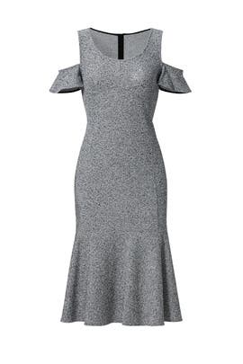 Grey Open Shoulder Dress by DEREK LAM