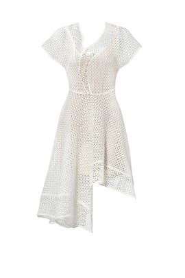 White Asymmetrical Eyelet Dress by Keepsake