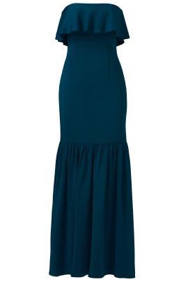 Teal Lexi Strapless Ruffle Gown by Jill Jill Stuart
