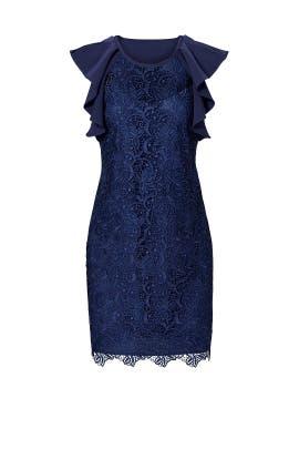 Navy Ruffle Flow Sleeve Dress by Slate & Willow