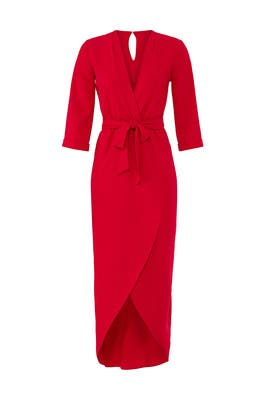 Red Timeless Wrap Dress by Amanda Uprichard