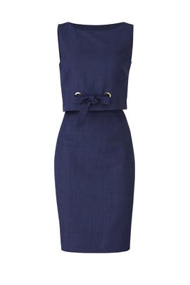 Navy Grommet Sheath by Badgley Mischka