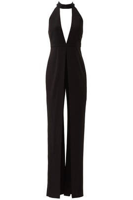Black Embellished Collar Crepe Jumpsuit by Halston Heritage