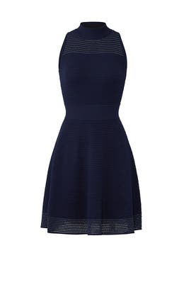 Navy Stitch Flare Dress by Milly